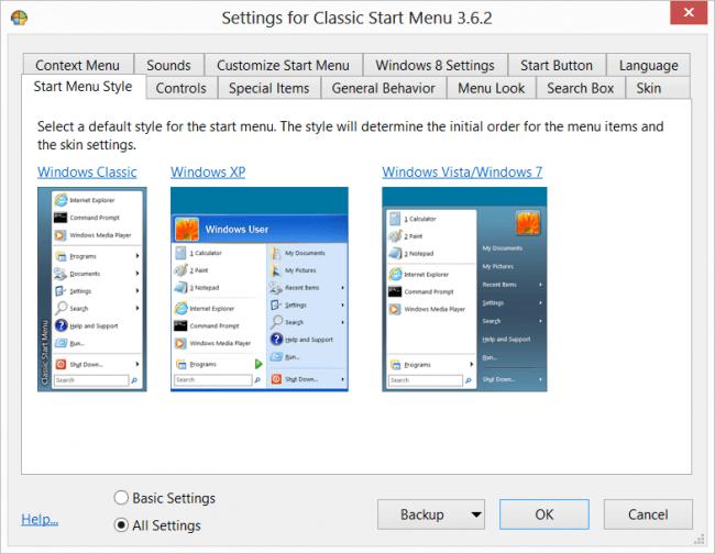 Кнопка Пуск в Windows 8: Classic Shell