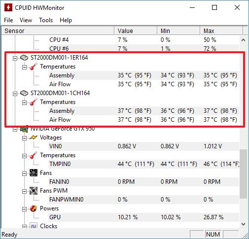 температура жесткого диска в HWmontor
