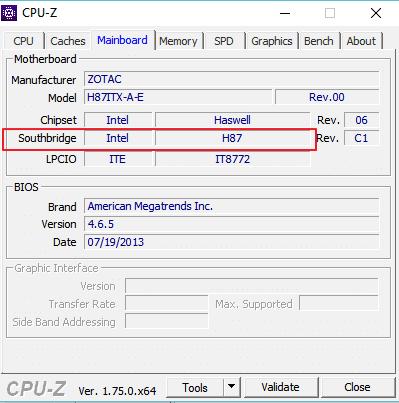 южный мост чипсета в CPU-Z