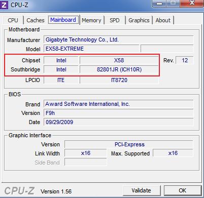чипсет в программе CPU-Z