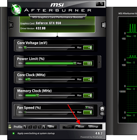 сброс настроек MSI Afterburner