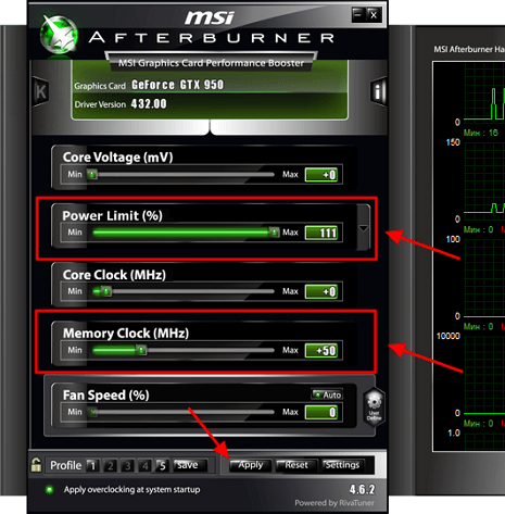 разгон видеопамяти в MSI Afterburner