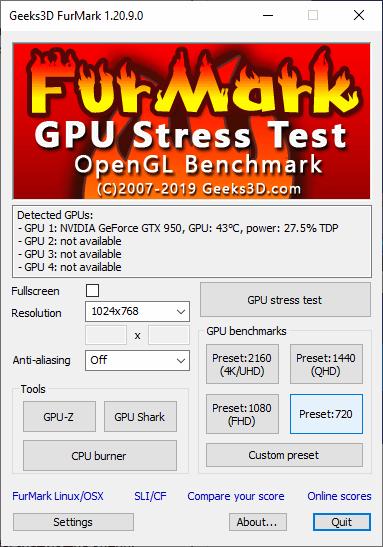 интерфейс FurMark