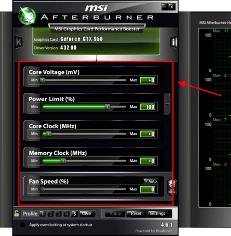 опции в MSI Afterburner