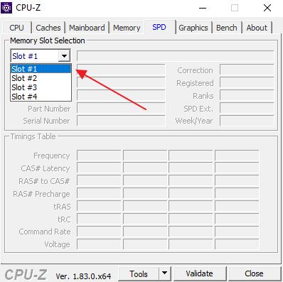 вкладка SPD в CPU-Z