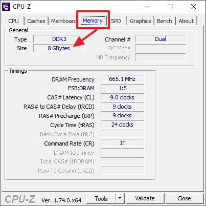 объем оперативной памяти в CPU-Z