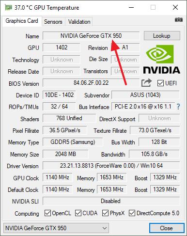 модель видеокарты в GPU-Z