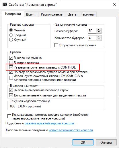 функция Разрешать сочетания клавиш с CONTROL