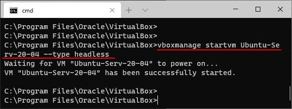 Запуск виртуальной машины без интерфейса