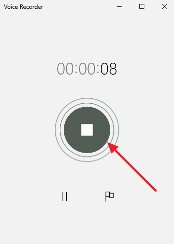 остановка записи звука