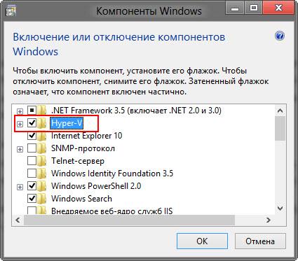 Hyper-V в окне Компоненты Windows