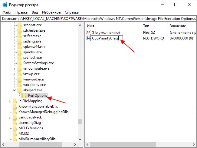 параметр CpuPriorityClass