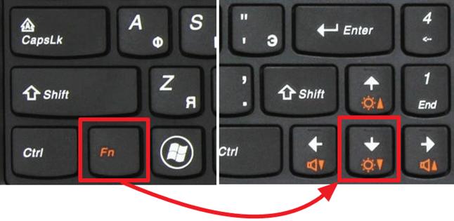 уменьшите яркость экрана при помощи клавиатуры
