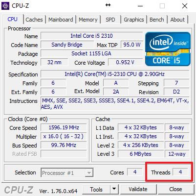 количество потоков в CPU-Z