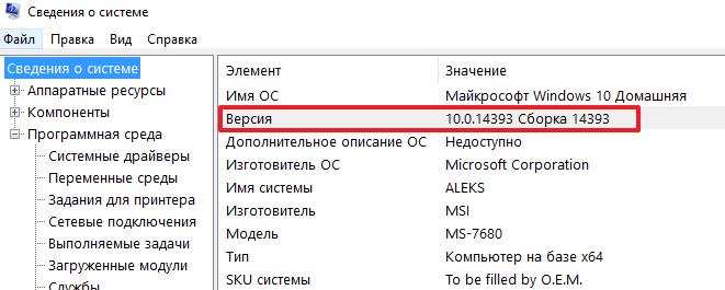 номер сборки в MsInfo32