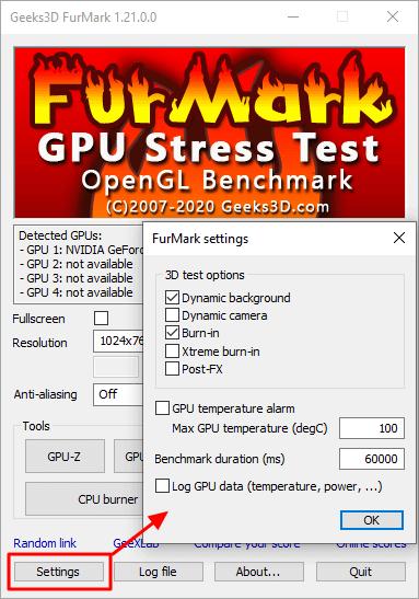 еще настройки Furmark
