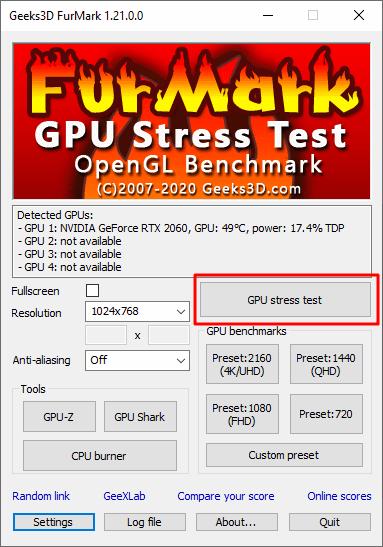кнопка GPU Stress Test
