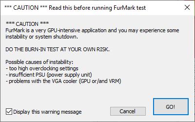 предупреждение Furmark