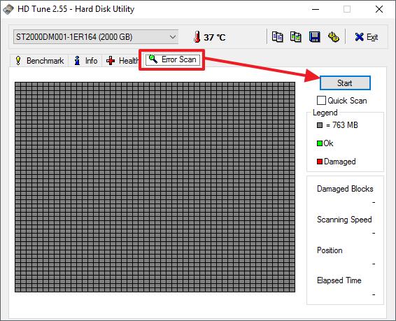 сканирование на ошибки в HD Tune