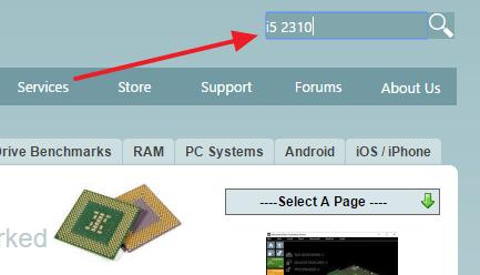 поиск процессора на сайте cpubenchmark.net