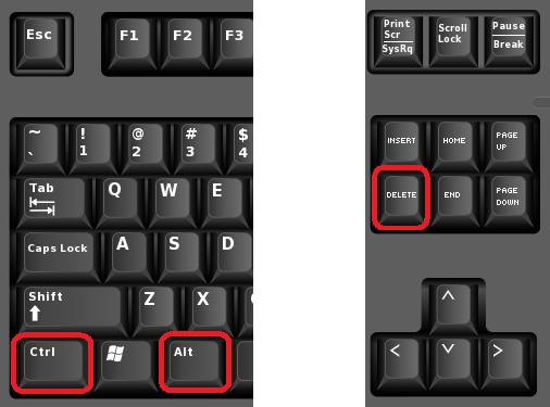 комбинация клавиш Ctrl-Alt-Del