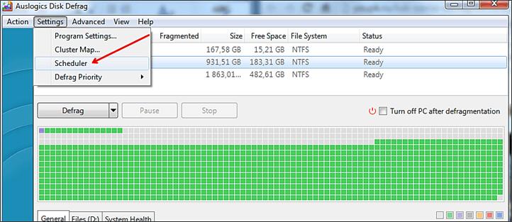 меню настройки в Auslogics Disk Defrag Free