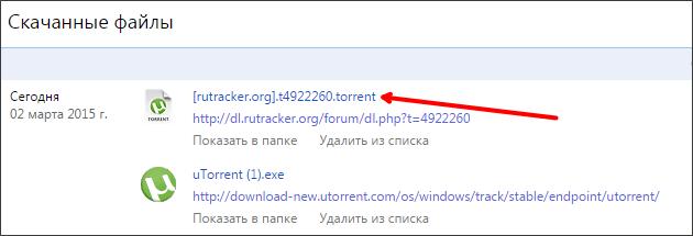 список скачанных файлов в браузере