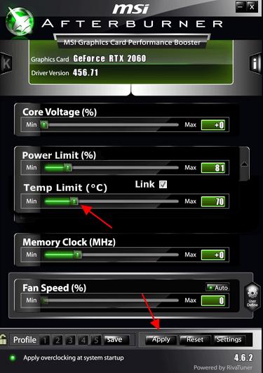 перемещаем ползунок Temp Limit
