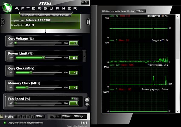 Интерфейс программы MSI Afterburner