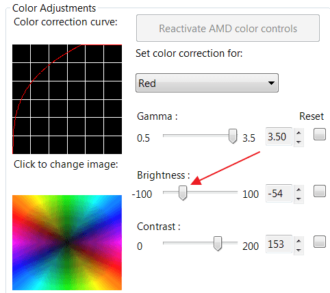 уменьшение яркости монитора в настройках AMD