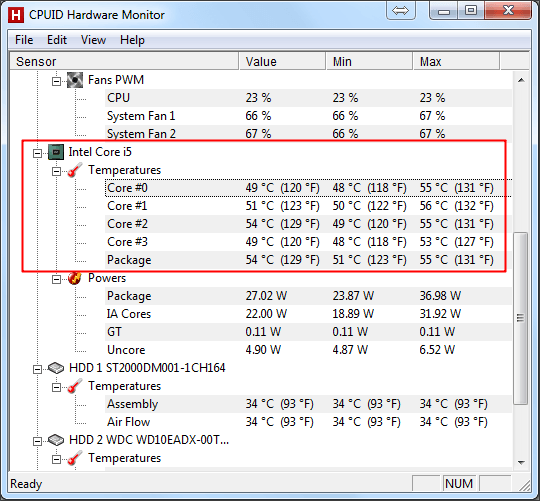 температура процессора в программе HWmonitor