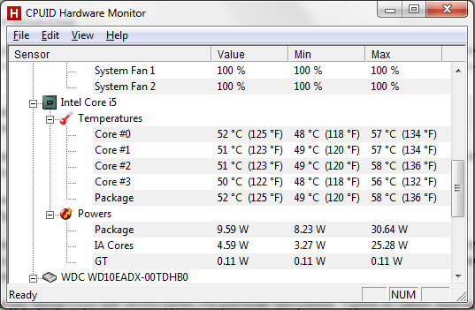 Нормальная температура процессора: программа HWmonito