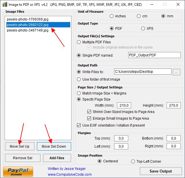 перемещение картинок в Image To PDF or XPS
