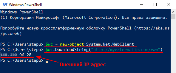 ip адрес в консоли PowerShell