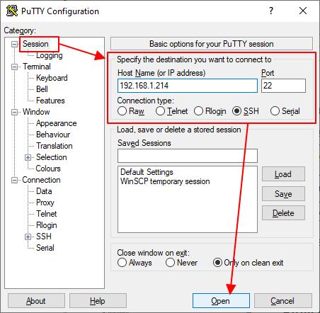 подключение по ssh через программу PyTTY