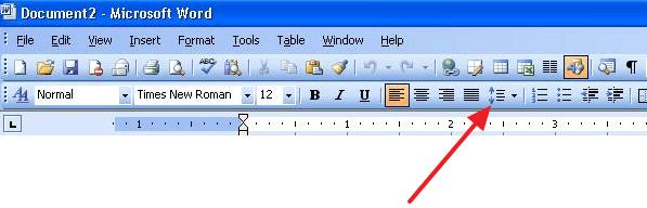 кнопка для изменения межстрочного интервала в Word 2003