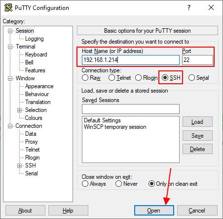 подключение к ssh через putty