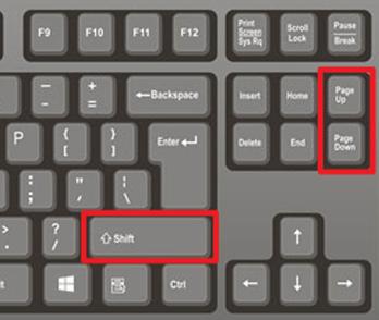 комбинации клавиш SHIFT-PageUp и SHIFT-PageDown