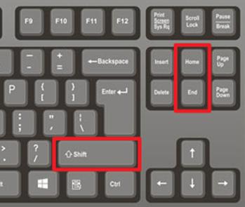 комбинации клавиш SHIFT-Home и SHIFT-End