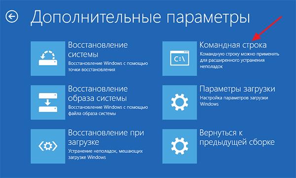 командная строка в среде восстановления Windows 10