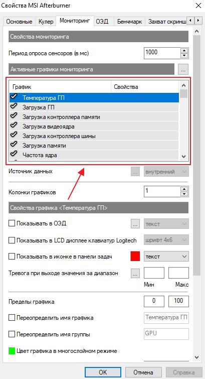 список параметров для мониторинга