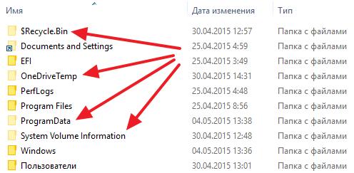 скрытые папки в интерфейсе Windows 10