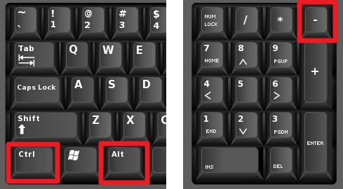комбинация клавиш CTRL+ALT+минус