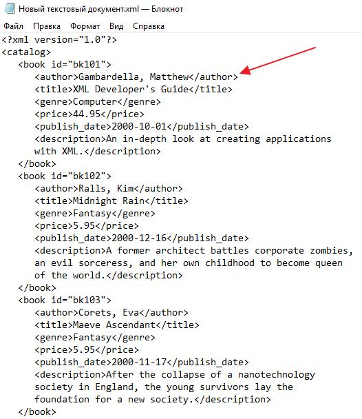 XML файл в Блокноте