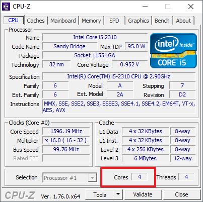 количество ядер в CPU-Z