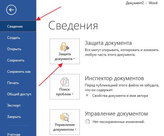 раздел Сведения и кнопка Защита документа