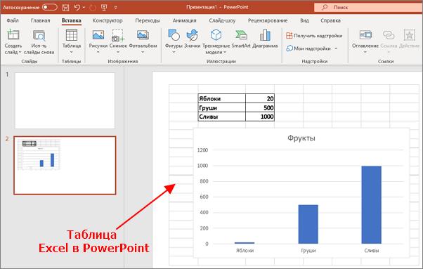 часть документа Excel