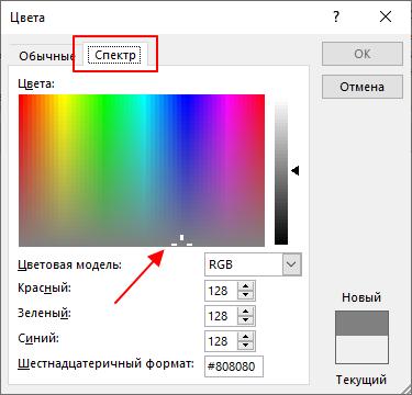вкладка Спектр