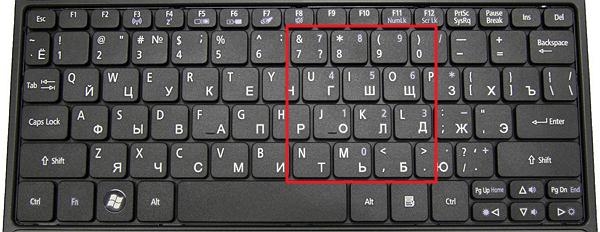 клавиатура без дополнительного цифрового блока