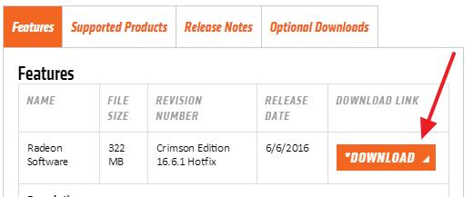 скачивание нового видеодрайвера с сайта AMD